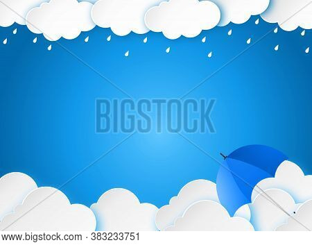Cloud Rain With Umbrella On Blue Background, Clear Sky With Cloud, Rain Season, Cloudy Day,weather F
