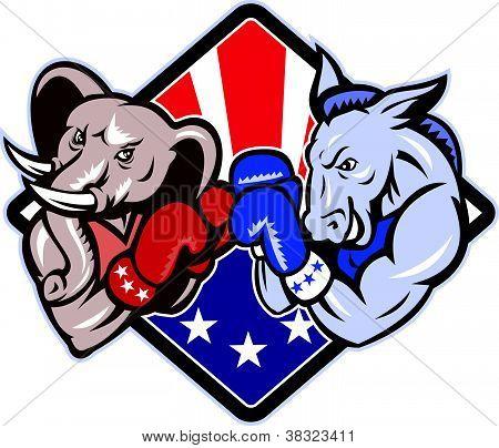 Democrat Donkey Republican Elephant Mascot Boxing