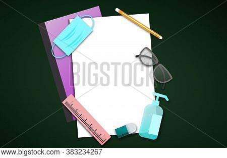 Back To School During Covid-19 Pandemic Concept,school Supplies With Medical Mask And Alcohol Gel On