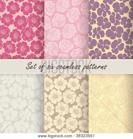 Set of six vector seamless flower patterns