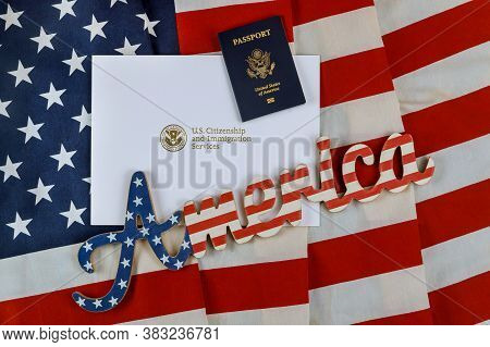 Letter From U.s. Citizenship And Immigration Services Of Naturalization With Usa Flag