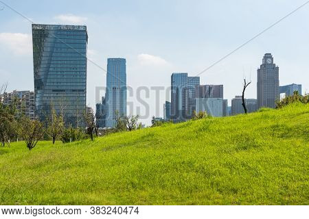 Chengdu, Sichuan Province, China - Aug 26, 2020 : Skyscrapers With Grass In The Foreground On A Sunn