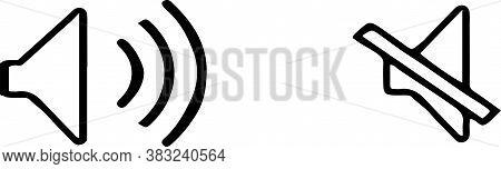 Speaker Icon Isolated On White Background , Volume, Volume Button, Wave
