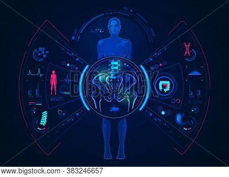 Concept Of Orthopedic Analysis Technology, Graphic Of Female With Pelvis And Body Scan