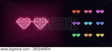 Neon Women Glasses Icon. Glowing Neon Sunglasses With Heart Shapes, Vivid Eyewear. Fashion Glasses,