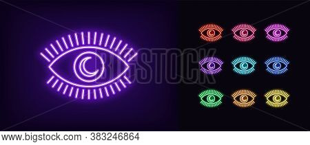Neon Magic Eye Icon. Glowing Neon Eye With Crescent Iris, Sweet Dream In Vivid Colors. Night Dream,