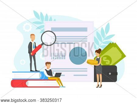 Business People Looking Through Magnifying Glass At Payment Document, Budget Planning Concept, Accou