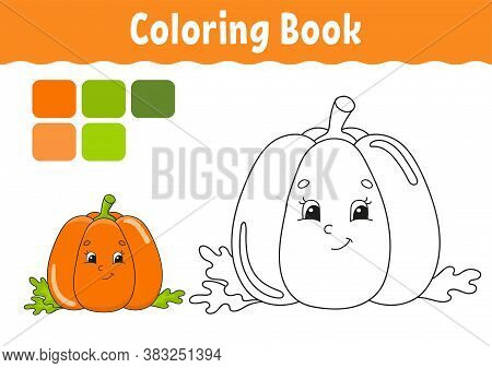 Coloring Book For Kids. Cheerful Character. Vector Illustration. Cute Cartoon Style. Fantasy Page Fo