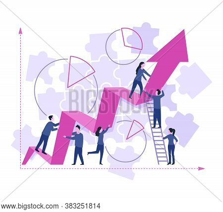 Profitable Business Concept - People Group (working Team Of Managers) Inside Chart Scheme With Diagr