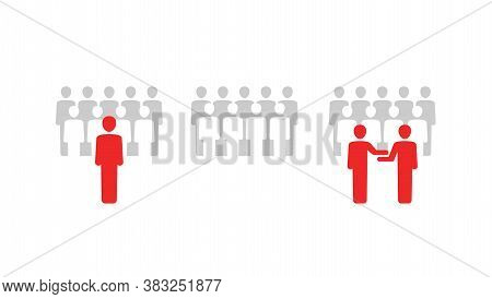 Group Of People  - Set Of Vector Icons With People Team Silhouettes, Group With Leader And With Two