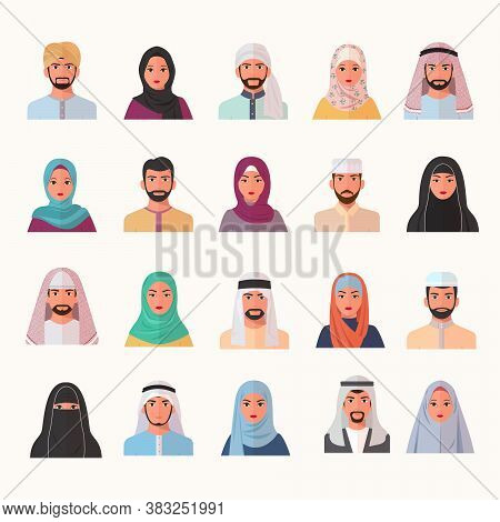 Eastern Muslim Characters Avatars Set. Smiling Arab Faces Of Men Women In Chador And Burqa Trendy Co