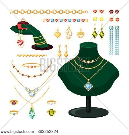 Jewelry Set. Stylish Rings Bracelets With Diamonds And Rubies Gold Earrings Pendants With Pearls Vin