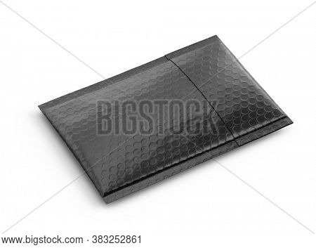 Small black paper delivery mail post packet isolated on the white background. Mockup template. copy space. 3d rendering