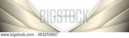 White Wide Abstract Banner With Golden Lines And Shadows. Modern Light Wide Background With Golden A