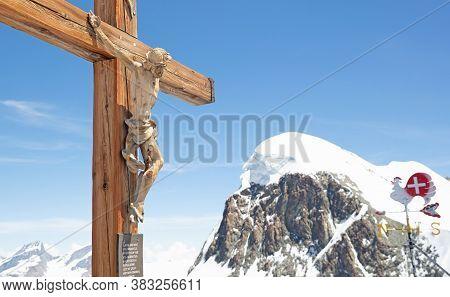 Matterhorn Glacier Paradise, Switzerland - July 19, 2022: Crucifixion On Matterhorn Glacier Paradise