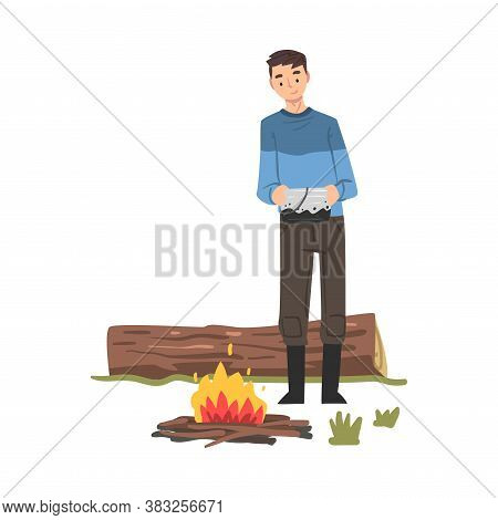Man Standing Near Bonfire, Male Tourist Character Hiking And Fishing On Nature, Summer Adventure Tri