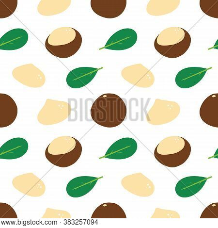 Cute Cartoon Style Macadamia Nuts And Green Leaves Vector Seamless Pattern Background.