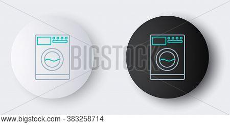 Line Washer Icon Isolated On Grey Background. Washing Machine Icon. Clothes Washer - Laundry Machine