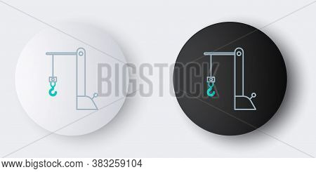 Line Harbor Port Crane Icon Isolated On Grey Background. Cargo Crane Tower. Colorful Outline Concept