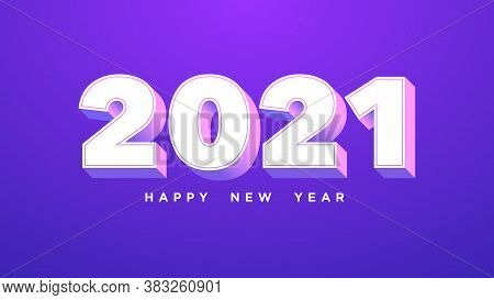 Happy New 2021 Year. Isometric Number 2021 With White Purple Pink Colors, Bold Digits In 3d Style On