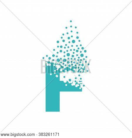 Letter F Dispersing Into A Cloud Of Bubbles.