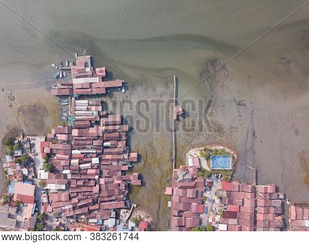 Aerial View Clan Jetty At Unesco Georgetown World Heritage Site, Penang, Malaysia.