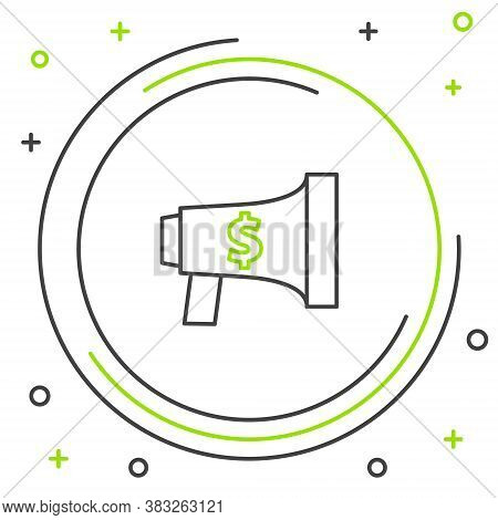 Line Megaphone And Dollar Icon Isolated On White Background. Loud Speach Alert Concept. Bullhorn For