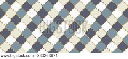 Seamless Moroccan Mosaic Pattern. Eid Mubarak Islam Decoration. Ramadan Traditional Golden Mosque Sh