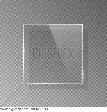 Realistic 3d Square Glass Frame Isolated On Grey Transparent Background. Creative Border Plate Objec