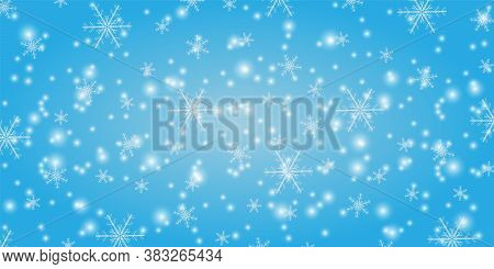 Snowfall On A Blue Background. Winter Snowflakes Trendy Vector Background. Shining Snow New Year Bac