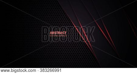 Dark Hexagonal Carbon Fiber Background With Red Luminous Lines And Highlights. Technology, Futuristi
