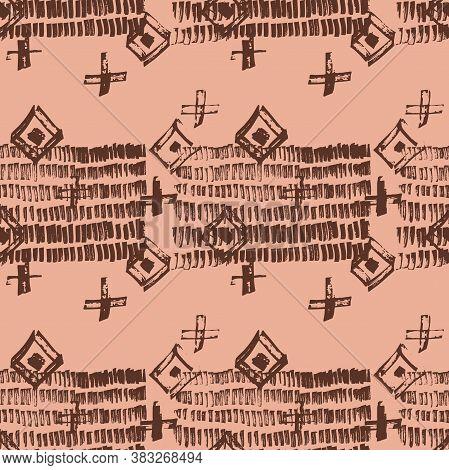 Tie Dye Japanese Geometric Shibori Seamless Pattern. Scribble Cartoon Doodle Craft Texture. Geo Wabi