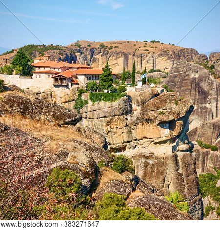 Rocks and The Holy Trinity monastery in Meteora, Greece. Greek landscape