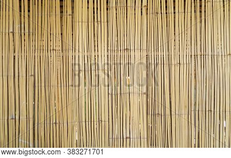 Traditional Woven Wood Rattan Or Timber Pattern Nature Texture Strips For Furniture Material. Bamboo