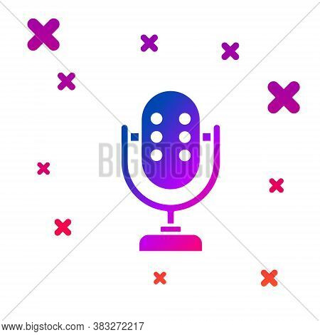 Color Microphone Icon Isolated On White Background. On Air Radio Mic Microphone. Speaker Sign. Gradi