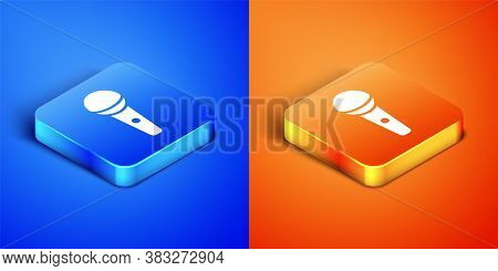 Isometric Microphone Icon Isolated On Blue And Orange Background. On Air Radio Mic Microphone. Speak