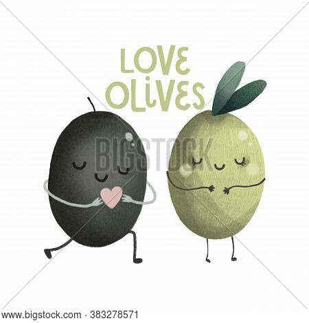 Cute Olives Character With Face, Green Lettering Organic Nature Illustration