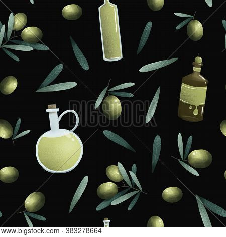 Olives Branch And Leaves, Oil Bottles, Green Herbal Organic Nature Seamless Pattern Illustration