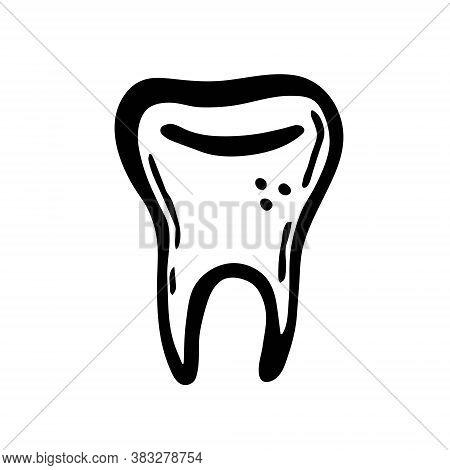 Human Tooth, Magic Symbol. Halloween Art, Design Element, Icon, Sticker. Holiday Ink Stamp, Silhouet