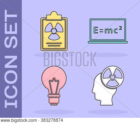 Set Head And Radiation Symbol, Radiation Warning Document, Light Bulb With Concept Of Idea And Equat