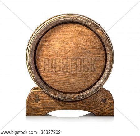 Front View Of Wooden Cask Isolated On A White Background