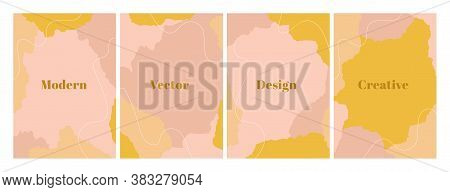 Fashion Set Of Abstract Backgrounds With Organic Shapes And Hand Draw Line In Pastel Colors. Neutral