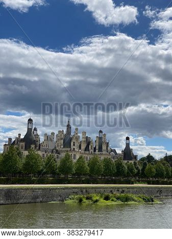 Chateau de Chambord in the Loire Valley, UNESCO world heritage in France, view over the beautiful french garden