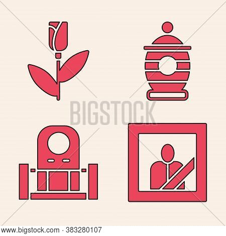 Set Mourning Photo Frame, Flower Rose, Funeral Urn And Grave With Tombstone Icon. Vector