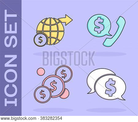 Set Speech Bubble With Dollar, Earth Globe With Dollar, Coin Money With Dollar And Telephone Handset