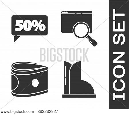 Set Waterproof Rubber Boot, Fifty Discount Percent Tag, Stacks Paper Money Cash And Search In A Brow