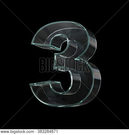 Glass Font 3d Rendering, Number 3, Three Dimensional Object