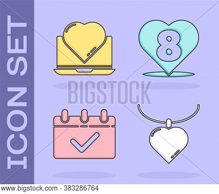 Set Necklace With Heart Shaped Pendant, Online Dating App And Chat, Calendar With 8 March And Heart