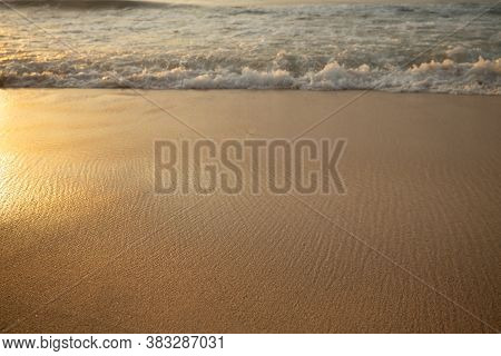 Scenic Seascape. Milky Foam Waves At Sandy Beach. Sunset Time. Waterscape For Background. Selected S