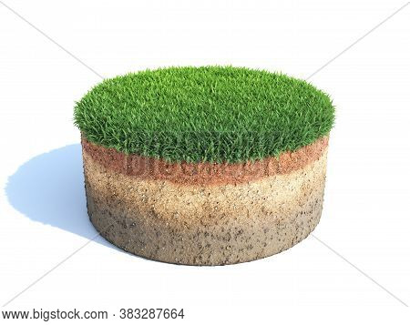 Cylindrical Cross Section Of Ground With Grass, Ecology, Geology Concept, Soil Sample Isolated On Wh
